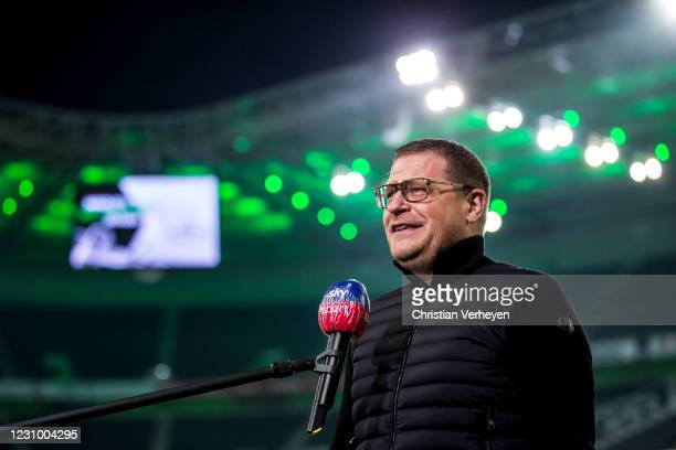 Director of Sport Max Eberl of Borussia Moenchengladbach talks to the media before the Bundesliga match between Borussia Moenchengladbach and 1.FC...