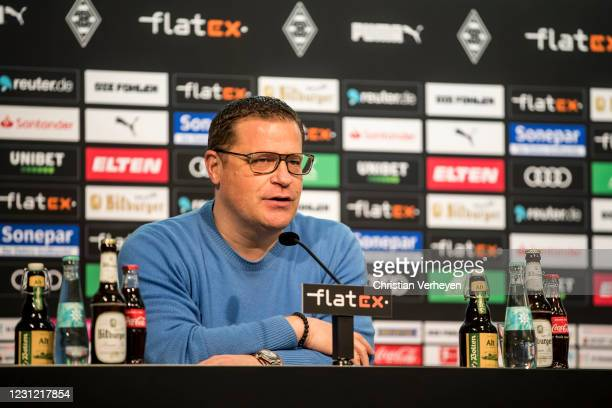 Director of Sport Max Eberl of Borussia Moenchengladbach talks to the media during a press conference of Borussia Moenchengladbach at Borussia-Park...