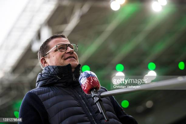 Director of Sport Max Eberl of Borussia Moenchengladbach talks to the media before the Bundesliga match between Borussia Moenchengladbach and 1. FSV...