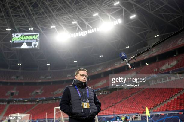 Director of Sport Max Eberl of Borussia Moenchengladbach talks to the media before the UEFA Champions League Round Of 16 Leg One match between...