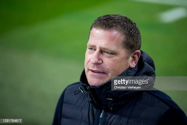 Director of Sport Max Eberl of Borussia Moenchengladbach talks to the media before the UEFA Champions League Round Of 16 Leg Two match between...