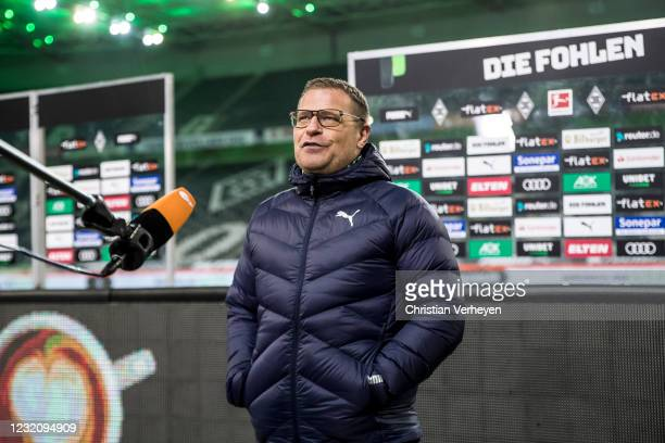 Director of Sport Max Eberl of Borussia Moenchengladbach talks to the media after the Bundesliga match between Borussia Moenchengladbach and SC...