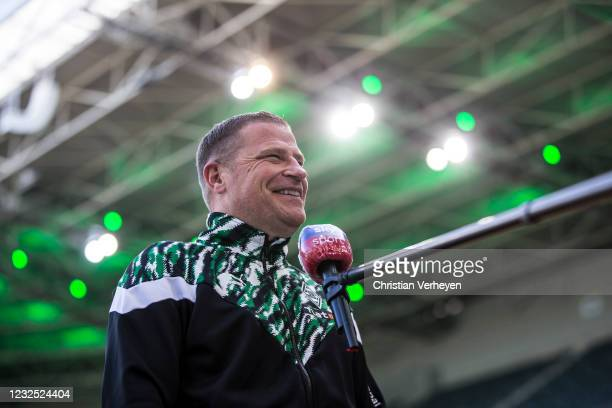 Director of Sport Max Eberl of Borussia Moenchengladbach talks to the media before the Bundesliga match between Borussia Moenchengladbach and DSC...