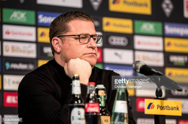 Director of Sport Max Eberl of Borussia Moenchengladbachtalks to the media during a press conference of Borussia Moenchengladbach at BorussiaPark on...