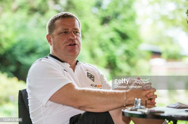 Director of Sport Max Eberl talks to the media during the Training Camp of Borussia Moenchengladbach at Klosterpforte on August 21 2020 in Marienfeld...
