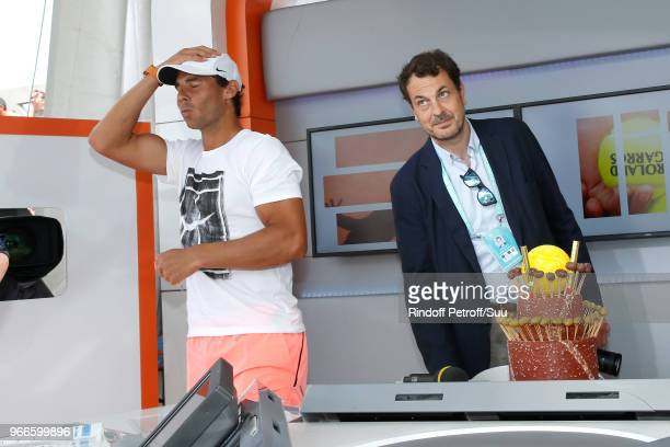 Director of sports at France Television LaurentEric Le Lay and Rafael Nadal attend Tennis Player Rafael Nadal is celebrating his 32nd Birthday at...