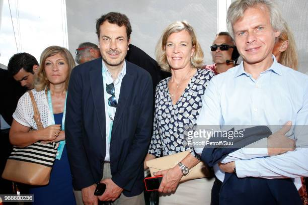 Director of sports at France Television LaurentEric Le Lay CEO of Guerlain Laurent Boillot and his wife Sara attend Tennis Player Rafael Nadal is...
