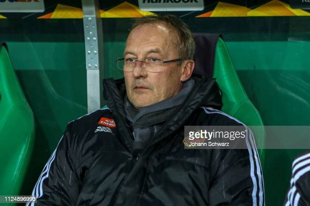 Director of sports Fredy Bickel of Rapid looks on during the UEFA Europa League Round of 32 match between SK Rapid Wien and FC Internazionale at...