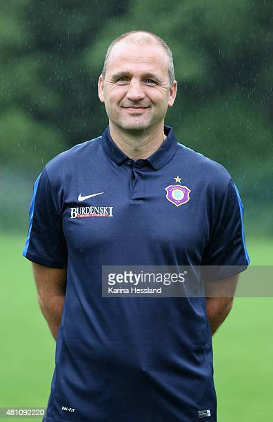 Director of Sports Steffen Ziffert poses during the official team presentation of Erzgebirge Aue at ground 2 on July 14 2015 in Aue Germany