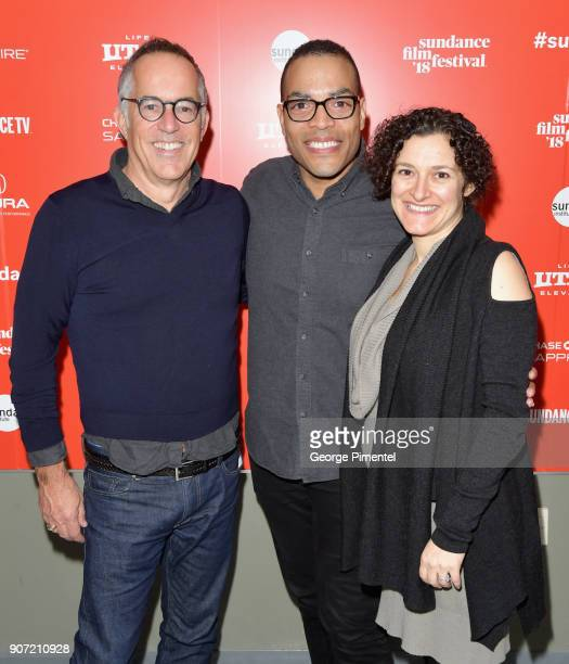 Director of Sundance Film Festival John Cooper director Reinaldo Marcus Green and executive producer Chiara Bernasconi attend the 'Monsters And Men'...