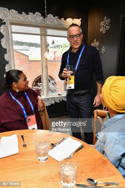 Director of Sundance Film Festival John Cooper speaks with actresses Octavia Spencer and Jada Pinkett Smith at the Feature Film Jury Orientation...