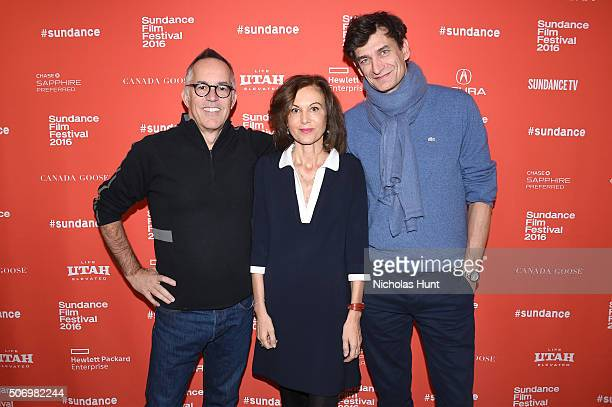 Director of Sundance John Cooper director Anne Fontaine and producer Eric Altmayer attend the 'Agnus Dei' Premiere during the 2016 Sundance Film...