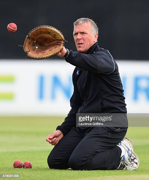 Director of Surrey Cricket Alec Stewart in action priorto the LV County Championship match between Derbyshire and Surrey at The County Ground on June...