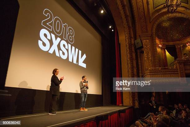 Director of SXSW Film Janet Pierson and director Carlos Lopez Estrada attend the premiere of 'Blindspotting' during the 2018 SXSW Film Festival at...