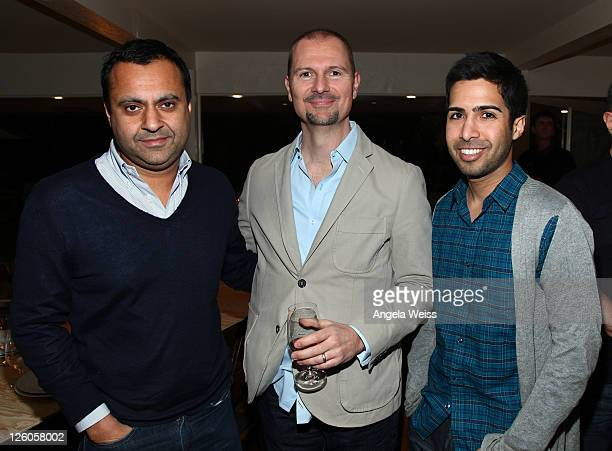 Director of Syco Sonny Takhar Mio Vukovic of AAM and sonwriter Savan Kotecha attend the Friends N Family Dinner at The Jack Warner Estate on February...