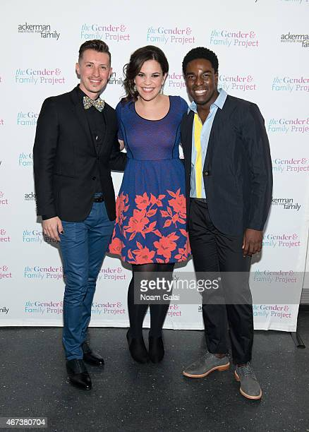 Director of the Ackerman Institute's Gender Family Project Jean Malpas actress Lindsay Mendez and Kyle Taylor Patrick attend The Ackerman Institute's...