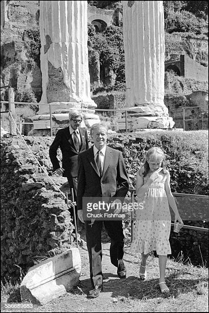 Director of the American Academy in Rome John D'Arms accompanies American politician and US President Jimmy Carter and his daughter Amy as they tour...