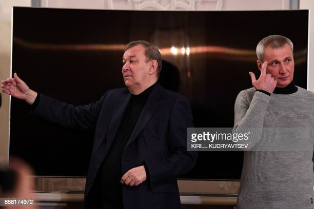 Director of the Bolshoi Ballet Makhar Vaziev and the Bolshoi theatre general director Vladimir Urin speak to the media during a briefing on December...
