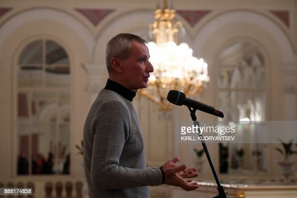 Director of the Bolshoi Ballet Makhar Vaziev speaks to the media during a briefing on December 8 2017 in Moscow on the eve of the premiere of the...