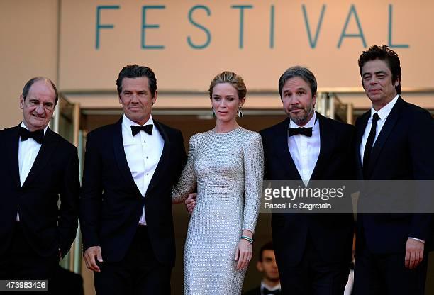 Director of the Cannes Film Festival Pierre Lescure actors Josh Brolin and Emily Blunt director Denis Villeneuve and actor Benicio Del Toro attend...