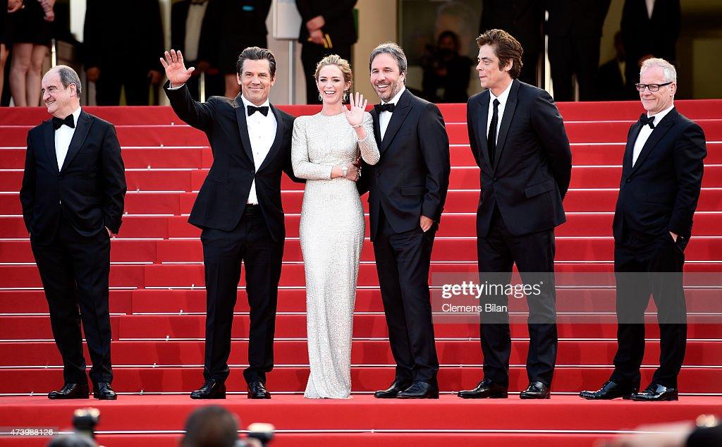 Director of the Cannes Film Festival Pierre Lescure, actors Josh Brolin and Emily Blunt, director Denis Villeneuve, actor Benicio Del Toro and eneral Delegate of the Cannes Film Festival Thierry Fremaux attend the 'Sicario' premiere during the 68th annual Cannes Film Festival on May 19, 2015 in Cannes, France.