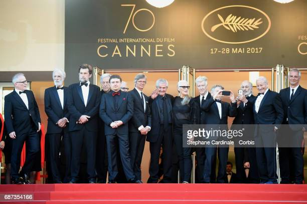 Director of the Cannes Film Festival Thierry Fremaux and former Palme D'Or winners Michael Haneke Nanni Moretti CostaGavras Cristian Mungiu Bille...