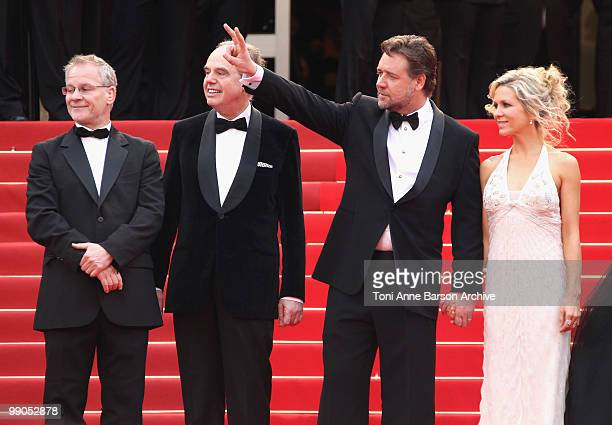 Director of the Cannes Film Festival Thierry Fremaux French Culture Minister Frederic Mitterrand actor Russell Crowe and wife his wife Danielle...