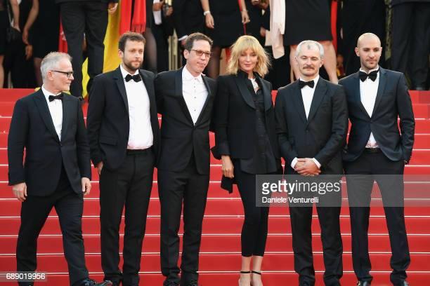 Director of the Cannes Film Festival Thierry Fremaux Jury members of Un Certain Regard Joachim Lafosse Reda Kateb jury president Uma Thurman jury...