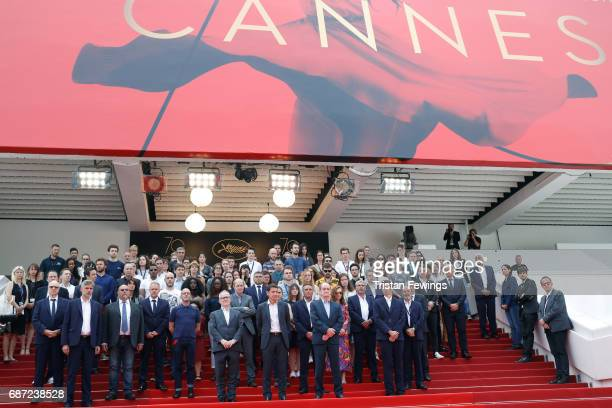 Director of the Cannes Film Festival Thierry Fremaux President of the Cannes Film Festival Pierre Lescure lead a minute of silence for the victims of...