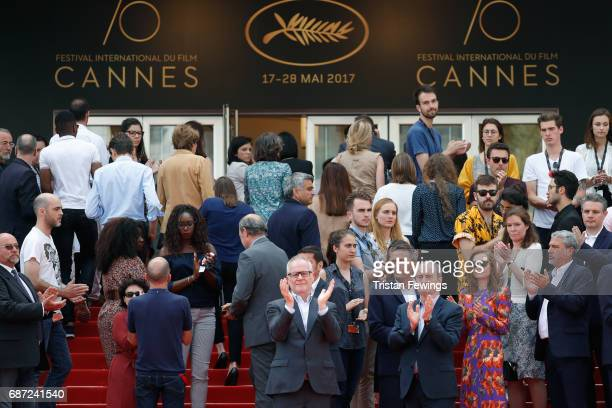 Director of the Cannes Film Festival Thierry Fremaux , President of the Cannes Film Festival Pierre Lescure lead a minute of silence for the victims...