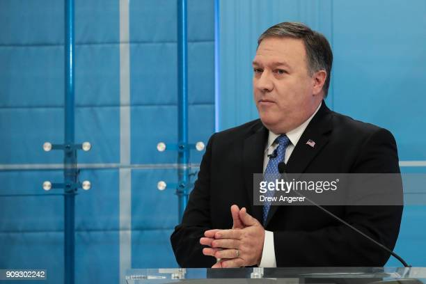 Director of the Central Intelligence Agency Mike Pompeo speaks at the American Enterprise Institute January 23 2018 in Washington DC Pompeo stated...