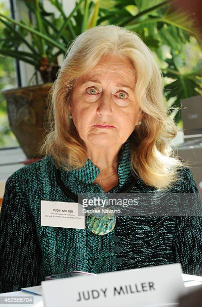 Director of the Conrad N Hilton Humanitarian Prize Judy Miller attends a press conference that announces Fountain House an organization that assists...