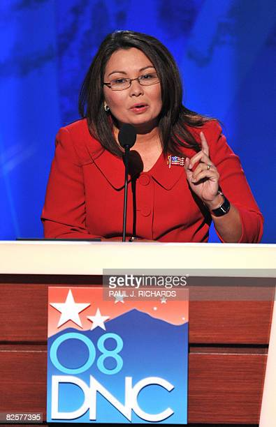 Director of the Department of Veterans Affairs helicopter pilot and Iraq war veteran Tammy Duckworth addresses the Democratic National Convention at...