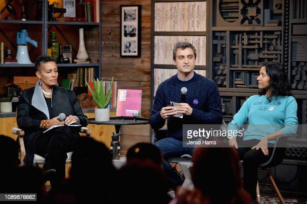 Director of the Documentary Film Program at Sundance Institute Tabitha Jackson artist Eric Gottesman and author Tanya Selvaratnam speak during the...