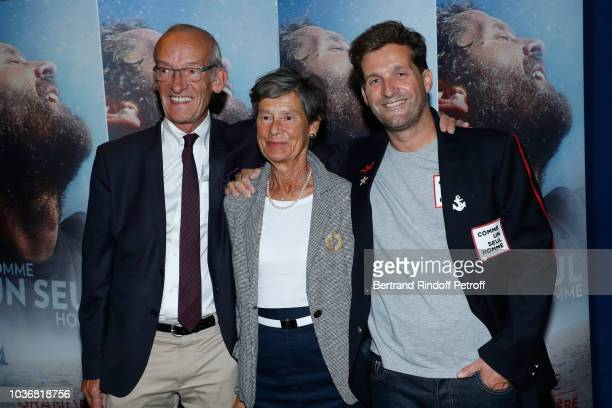 Director of the Documentary Navigator Eric Bellion poses with his parents Fortune and Regine during the Comme un seul Homme As a lonely Man...