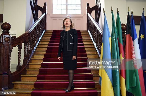 Director of the Ecole Nationale d'Administration Nathalie Loiseau poses in their offices on September 28 2015 in Paris Loiseau is the second woman to...