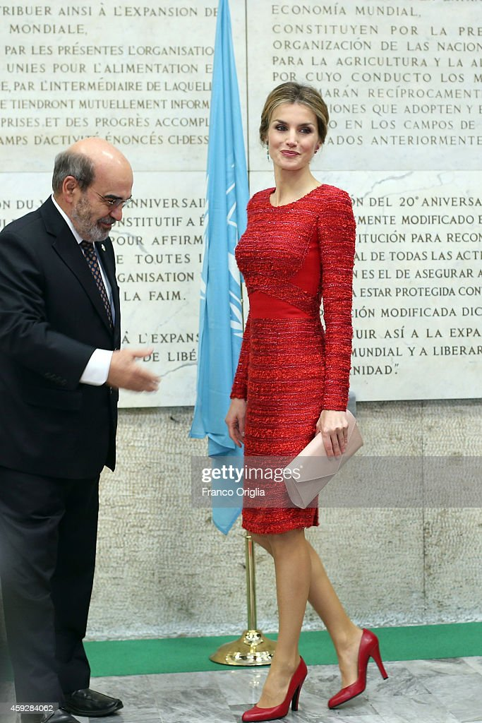 Director of the FAO Jose Da Silva greets Queen Letizia of Spain as she arrives at the FAO headquarter for the second international conference on nutrition on November 20, 2014 in Rome, Italy.