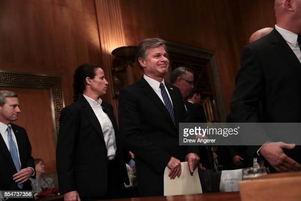 Director of the Federal Bureau of Investigation Christopher Wray arrives for a Senate Committee on Homeland Security and Governmental Affairs hearing...