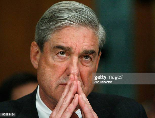 Director of the Federal Bureau of Investigation Robert Mueller testifies at a Senate Judiciary Hearing focusing on the attempted bombing incident on...