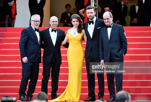 Director of the festival Thierry Fremau Producer Jeffrey Katzenberg Actors Justin Timberlake and Anna Kendrick and President of the festival Pierre...