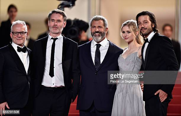 Director of the festival Thierry Fremaux director JeanFrancois Richet actors Mel Gibson Erin Moriarty and Diego Luna attend the Blood Father Premiere...
