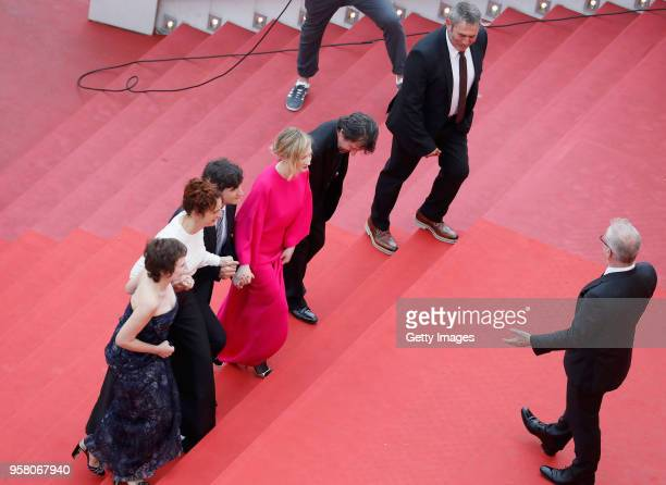 Director of the festival Thierry Frémaux greets actors Sergi Lopez David Bennent actress Alba Rohrwacher actor Adriano Tardiolo director Alice...