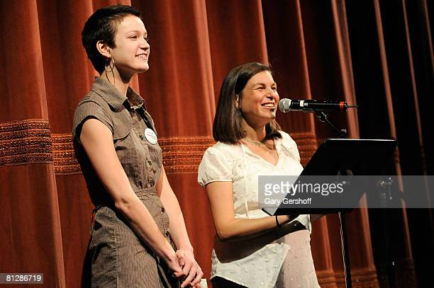 """Director of the film """"American Teen"""" Nanette Burstein , with film subject, Hannah Bailey, addresses invited guests at the 2008 Sundance Institute at..."""