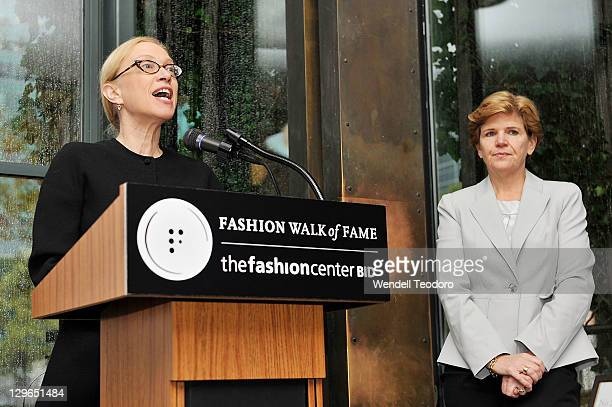 Director of the F.I.T. Museum Valerie Steele and Barbara Randall attends the Fashion Walk Of Fame 2011 induction ceremony at Bryant Park Grill on...