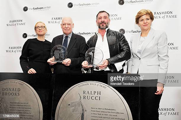 Director of the F.I.T. Museum Valerie Steele and Gerald Blum and Ralph Rucci and Barbara Randall attend the Fashion Walk Of Fame 2011 induction...
