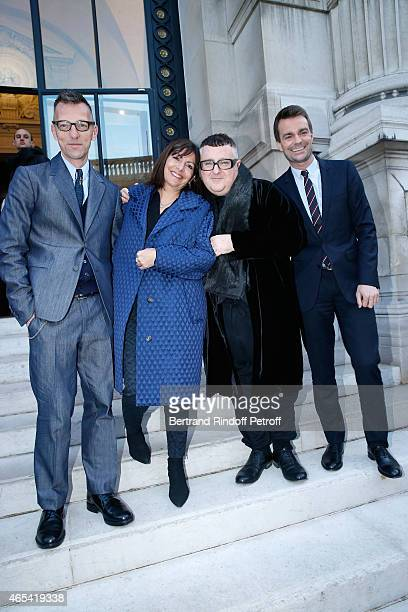 Director of the Galliera Museum Olivier Saillard, Mayor of Paris Anne Hidalgo, Fashion Designer Alber Elbaz and First Deputy Mayor of Paris,...