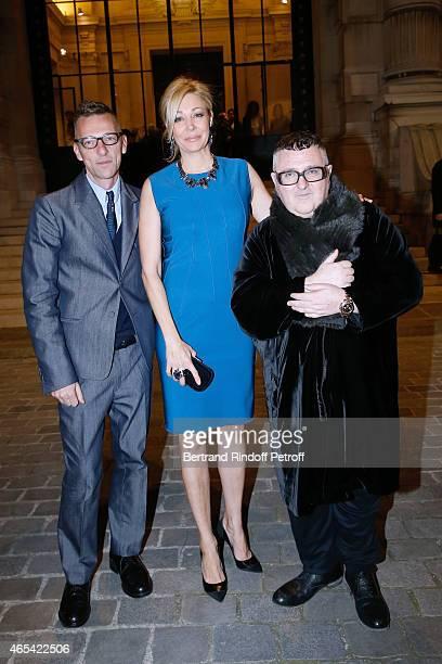 Director of the Galliera Museum Olivier Saillard, Sponsor of the Exhibition Nadja Swarovski and Fashion Designer Alber Elbaz attend the Jeanne Lanvin...