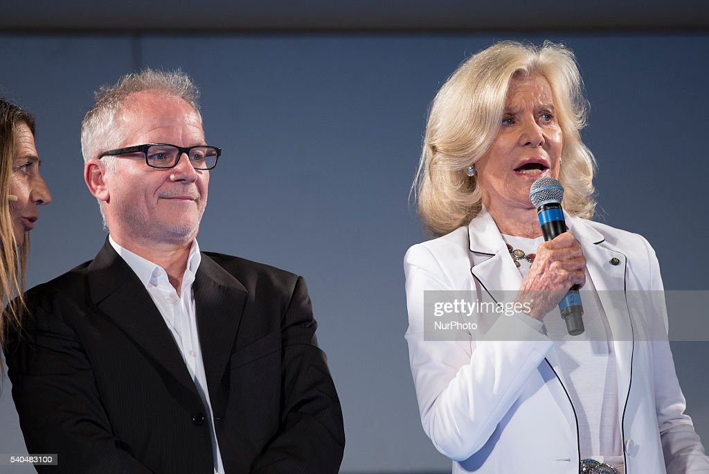 Director of the Institut Lumire and of the Cannes Film Festival Thierry Frmaux (L) and Marina Cicogna attend 62 Taormina Film Fest - Day 5 on June 15, 2016 in Taormina, Italy.