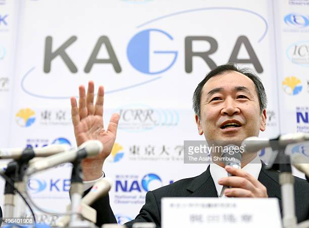 Director of the Institute for Cosmic Radiation Research University of Tokyo Takaaki Kajita explains on the KAGRA telescope system to detect...