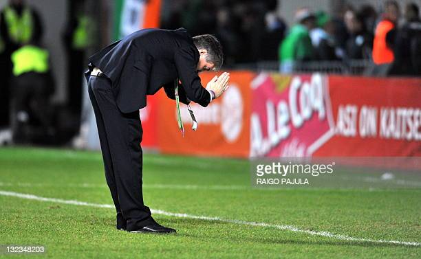 Director of the Irish team John Delaney thanks fans from Ireland during the Euro 2012 playoff soccer match between Estonia and Ireland on November 11...